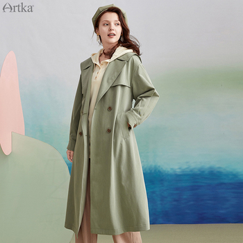 ARTKA 2020 Autumn New Women Trench Coat Fashion British Style Double Breasted Trench Coat Long Windbreaker Outerwear FA20102Q fashion new women trench coat long double breasted belt blue khaki lady clothes autumn spring outerwear