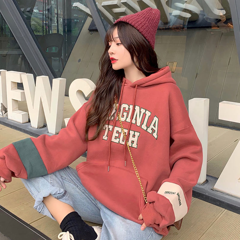 Women Letter Hooded Hoodies Plus Velvet Winter Warm Large Size Patchwork Ulzzang Womens Sweatshirt Harajuku Chic