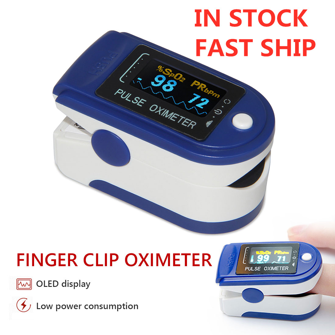Finger Oximeter Portable Fingertip Pulsioximetro Spo2 Monitor Pulse With LED Display Automatic Switch-off Household Health Monit