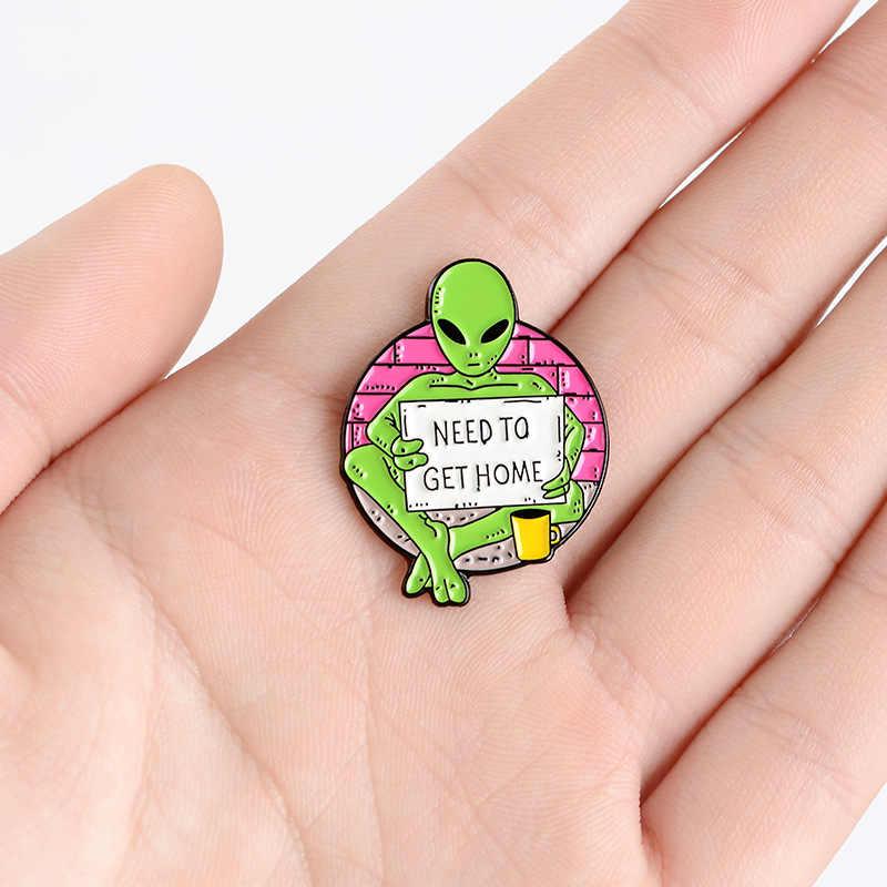 Cartoon Bedelen Et Emaille Pins Custom Alien Broches Voor Kleding Rugzak Knop Badge Mode-sieraden Cadeau Voor Kinderen Vrienden
