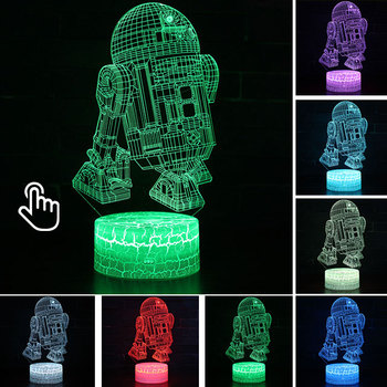 Star Wars Darth Vader Anime Figure Acrylic 3D Illusion LED Lamp Colourful NightLight Death Star Mask Yoda Model Toys Child Gift 32