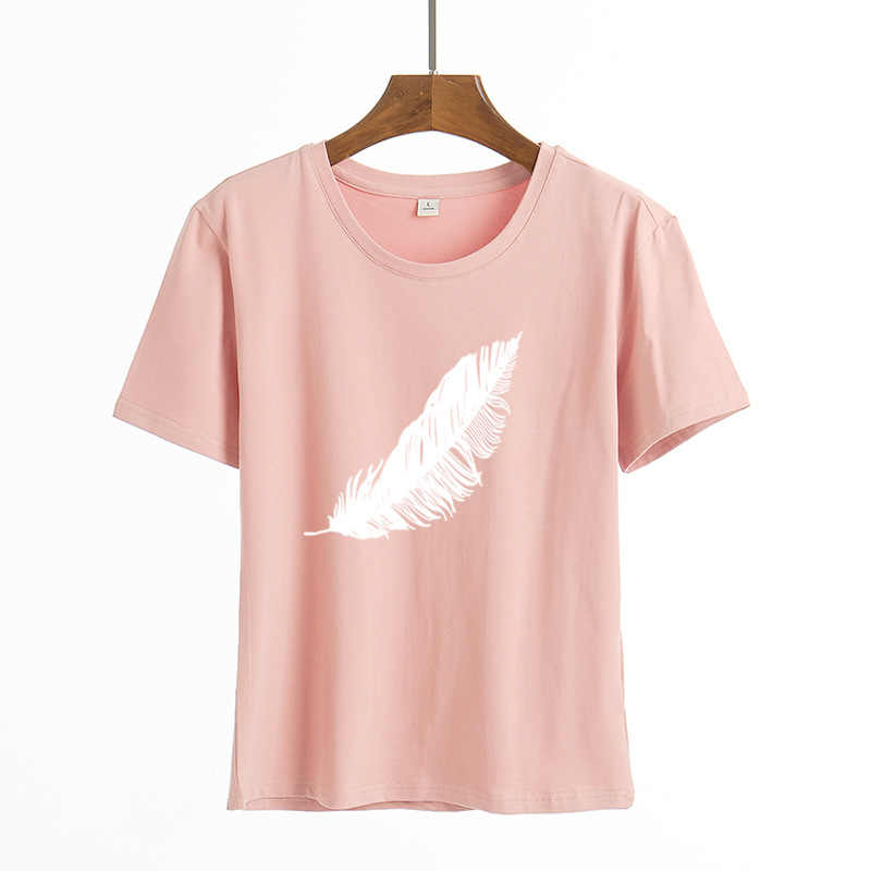 2020 Vrouwen Casual Harajuku Mode T-shirt Veer Print Losse O-hals Korte Mouwen Elastische Uitgerekt Zomer Thuis Nieuwe Tee Shirt