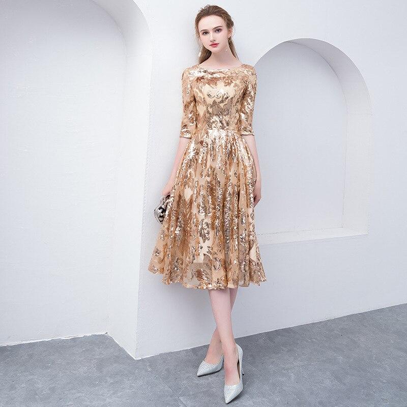 Luxury Gold Evening Dresses Qi Pao Women Chinese Host Slim Vintage Gown Dress Cheongsam Modern Oriental Style Elegant Robe Qipao