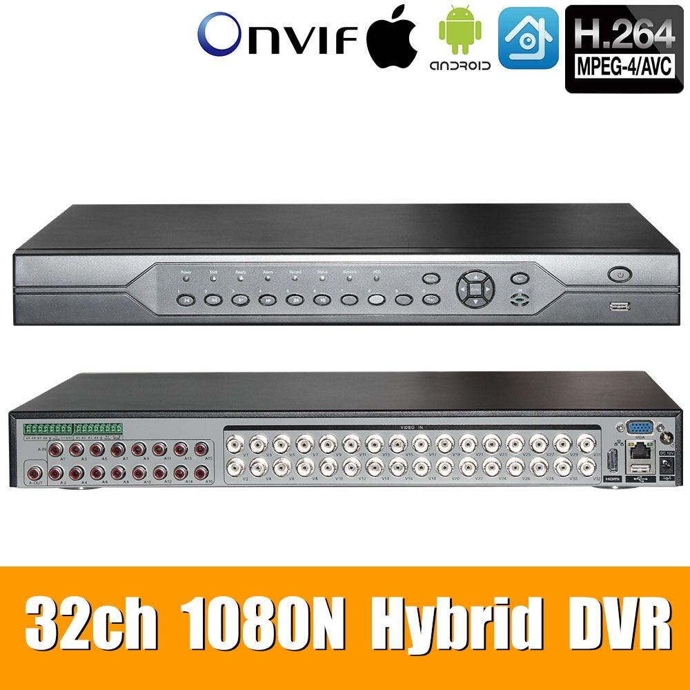 32ch DVR 6 1080N em 1 Coaxial CVI TVI AHD Sistemas de Vigilância Gravador De Vídeo IP NVR Híbrido Para AHD 8CH suporte a USB Wi-fi XMEYE