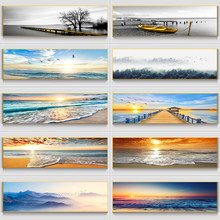 Natural Gold Beach Sunset Landscape Canvas Paintings Posters and Prints Wall Art for Living Room Home Decor (No Frame)