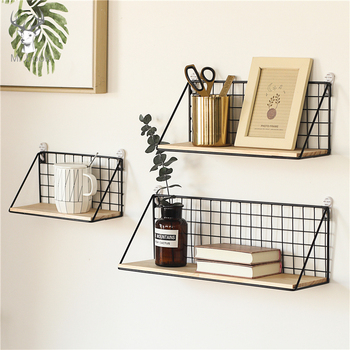 Home Office Wall Shelf Rack Iron Wooden Shelf for Kitchen Bedroom Office Decorative Wall Shelves Organizer DIY Desk Storage Rack 1
