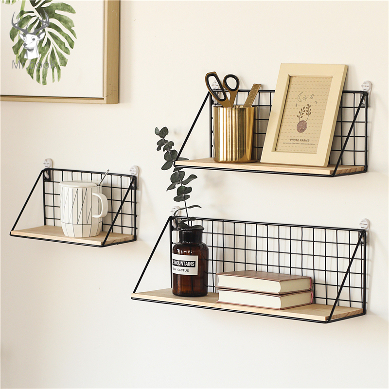 Home Office Wall Shelf Rack Iron Wooden Shelf for Kitchen Bedroom Office Decorative Wall Shelves Organizer DIY Desk Storage Rack