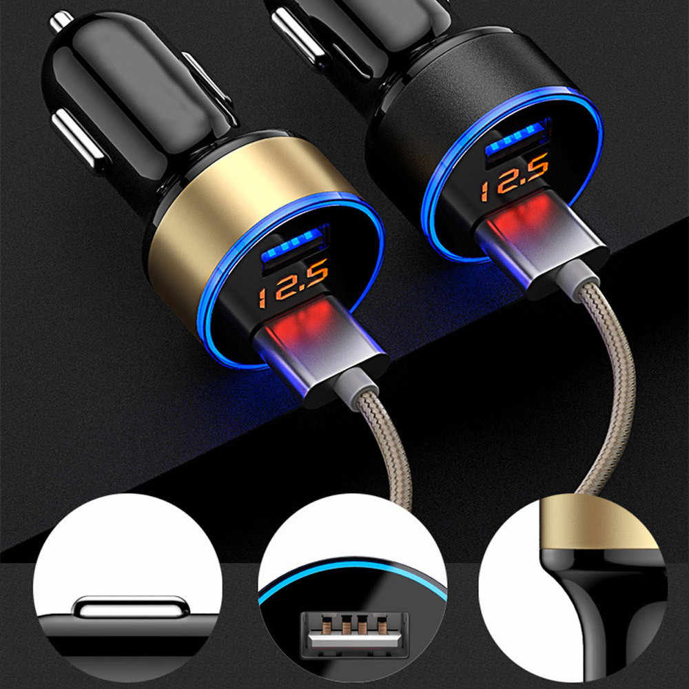 CARPRIE 3.1A 5V Dual USB Car Charger With LED Display Universal Phone Car-Charger for Xiaomi Samsung S8 iPhone X 8 Plus Tablet