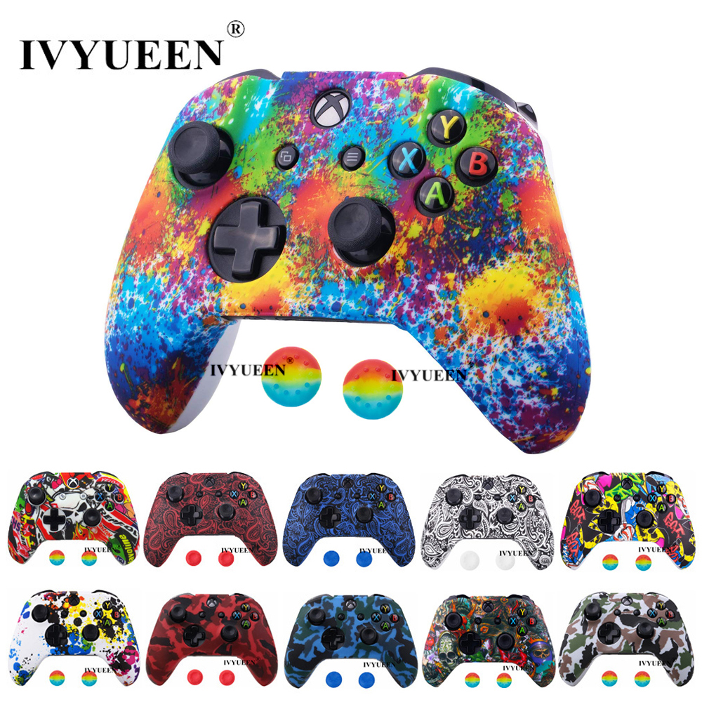 IVYUEEN 30 Colors  For Microsoft XBox 1 One X S Controller Silicone Protective Skin Case Water Transfer Printing Cover Grip Caps
