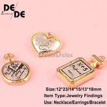 10pcs/lot High Quality Fashion Enamels Charms Gift Perfume Bottle Alloy Pendant Bracelet Necklace Jewelry Accessories 2019