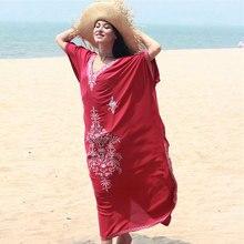 Haft Kaftan i tunika na plażę bawełniana okrycie plażowe Saida de Praia strój kąpielowy kobiety osłona do Bikini up Pareo Sarong kostiumy kąpielowe # Q854