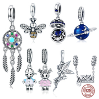 MYBEBOA, 925 пробы, серебряные подвески, подходят к оригинальному браслету Pandora, ожерелья, секретная планета, луна, звезда, кулон, синее имя, ювелир...