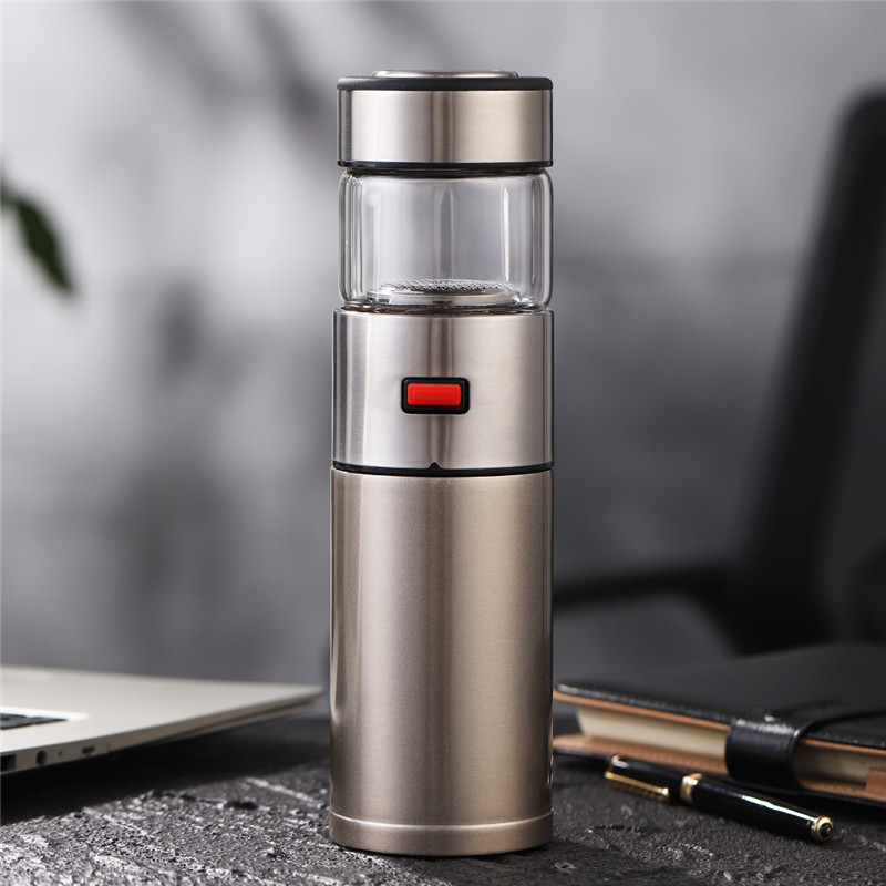 ONEISALL 570ml Stainless Steel Thermos Bottle Thermocup Tea Vaccum Flasks Christmas Gift Thermal Mug With Tea Insufer For Office in Vacuum Flasks Thermoses from Home Garden