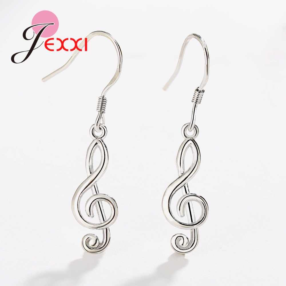 New Creative Fun Musical Symbol Dangle Earrings 925 Sterling Silver Personality Earrings Fashion Simple Women Gold Color Jewelry