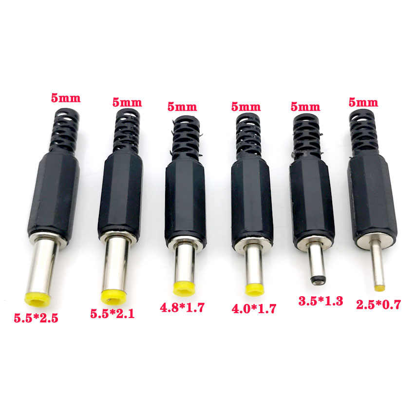 10Pcs 5.5X2.5 5.5X2.1 4.8X1.7 4.0X1.7 3.5X1.35 2.5X0.7mm Man Dc Power Plug Connector 180 Graden Stekkers