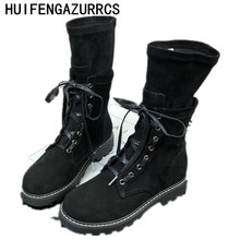 HUIFENGAZURRCS-Fall and winter new frosted cowhide leisure handsome Martin boots Korean version of retro middle ,2 colors