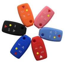 Flip Key Cover Case Silicone Car for Volvo S60 S80 D05 V70 XC70 XC90 5 Button Keychain Alarm Cute