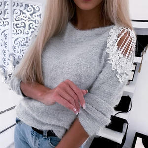 CALOFE Jumper Winter Sweater Casual Pullover Streetwear-Pull-Autumn Cold-Shoulder Female