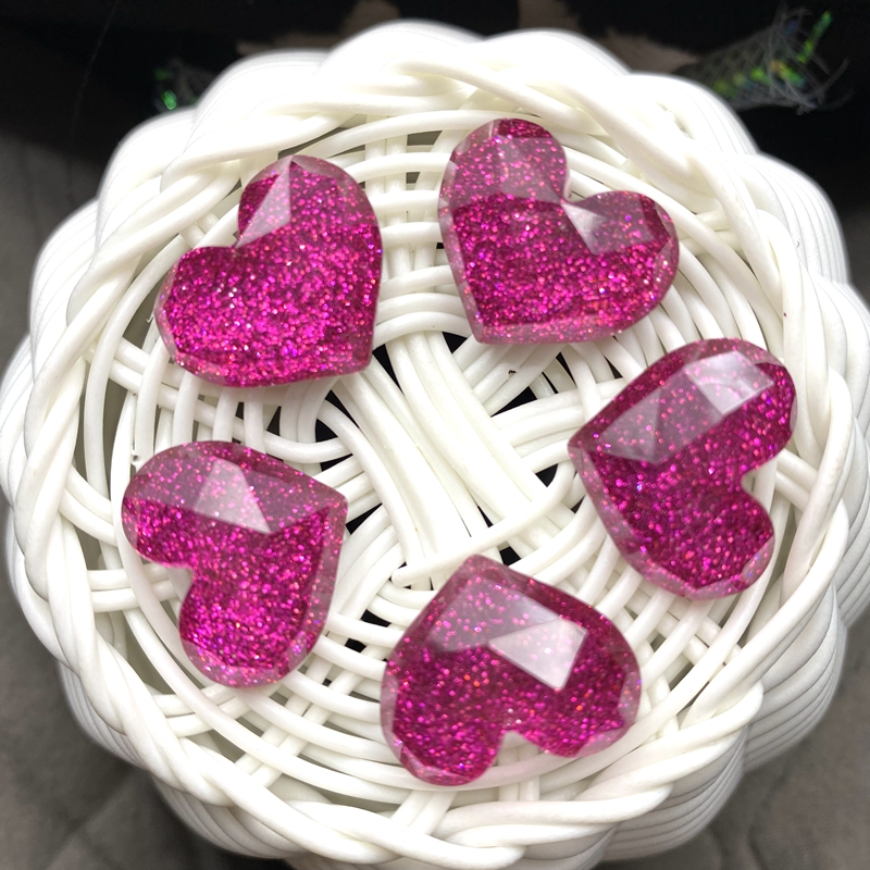 10pcs New Shiny Heart Flatback Resin Kawaii Cabochons DIY Scrapbook Hair Bows Center B67