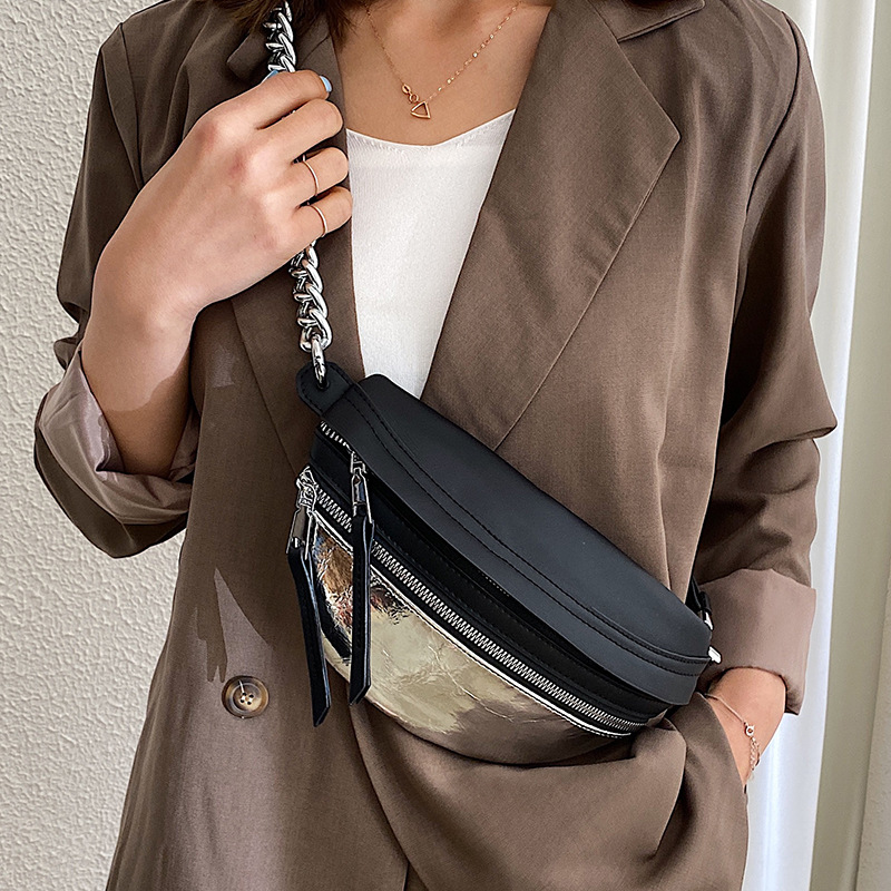 Splice nylon Female Chest bag chain Crossbody Bags For Women 2021 Shoulder bags Small PU Leather  ladies Waist Pack