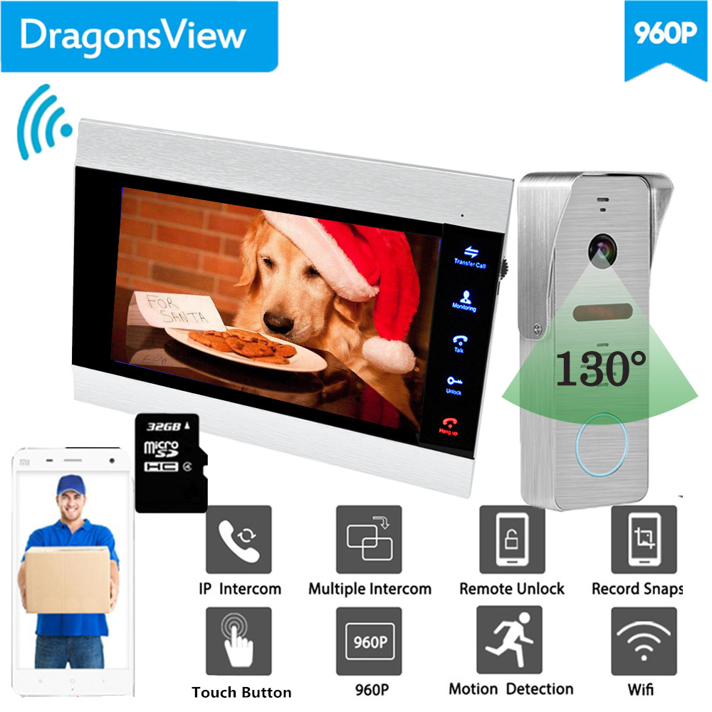 【Wide Angle 960P】Dragonsview  7''  Wifi Video Intercom Doorbell With Camera IP Video Door Phone SD Card Mobile Unlock