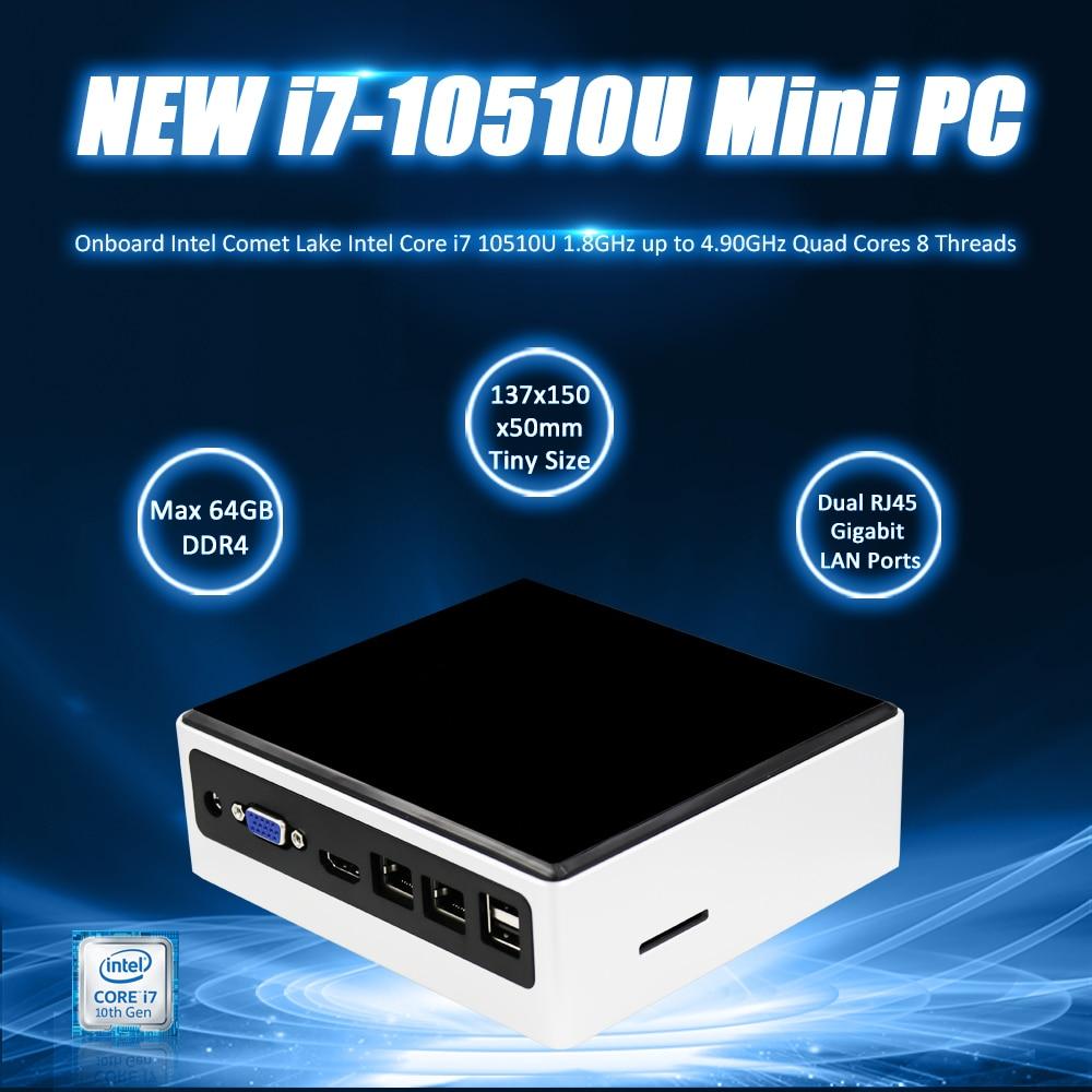 EGLOBAL Latest I7 10510U 10th GEN GAMING MINI PC Core I7 64GB DDR4  512GB M.2 NVME SSD AC WIFI Windows 10pro Computer