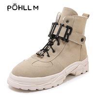 PUHLLM Women's Platform Boots Ladies Chunky Ankle Boots 2019 New Autumn Winter Female Fashion Women Vulcanized Shoes ladies F75