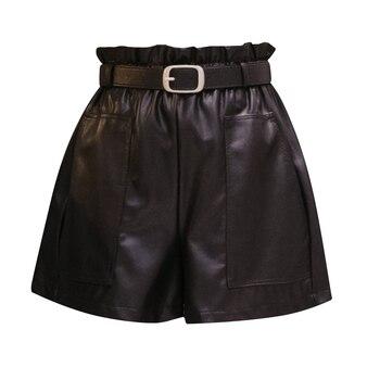 Fashion High Waist Shorts Girls A-line Elegant Leather Shorts Bottoms Wide-legged Shorts Autumn Winter Women 6312 50 10