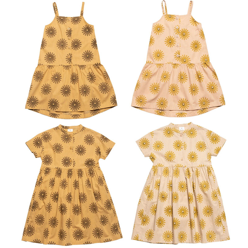 Kids Dress 2020 Wyn Brand New Summer Girls Locely Sun Print Short Sleeve A-Line Dresses Baby Child Fashion Clothes