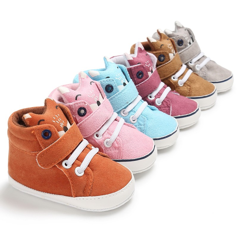 Spring Baby Shoes Cartpoon Kid Boy Girl Fox Head Lace Cotton Cloth First Walker Anti-slip Soft Sole Toddler Sneaker 1 Pair