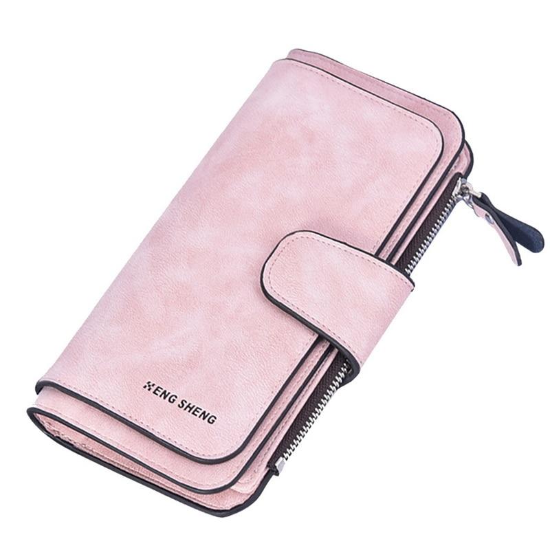 MoneRffi Women's Soft Leather Long Wallet Credit Card Clutch Purse Women's Wallet Matte Card Bag Buckle Multi-function  Wallet