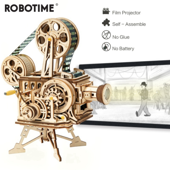 Robotime 183pcs Retro Diy 3D Hand Crank Film Projector Wooden Model Building Kits Assembly Vitascope Toy Gift for Children