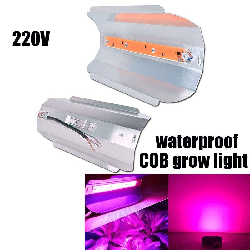 220V COB LED Veg Grow Light Indoor Plant Lamp Greenhouse Aluminum 30W/50W/80W Floodlight For Seeds Vegetable Cultivo Room Garden