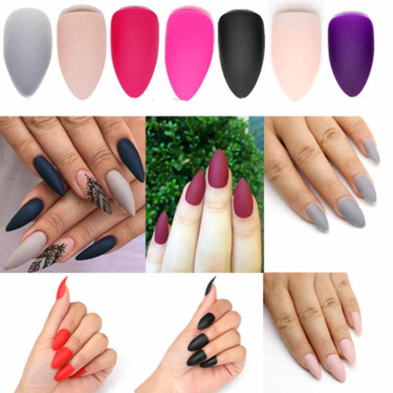 Hot Nail Art Manicure 24pcs Matte Tips For False Nails Fake Nails Forms For Extension Manicure Art for False Nails