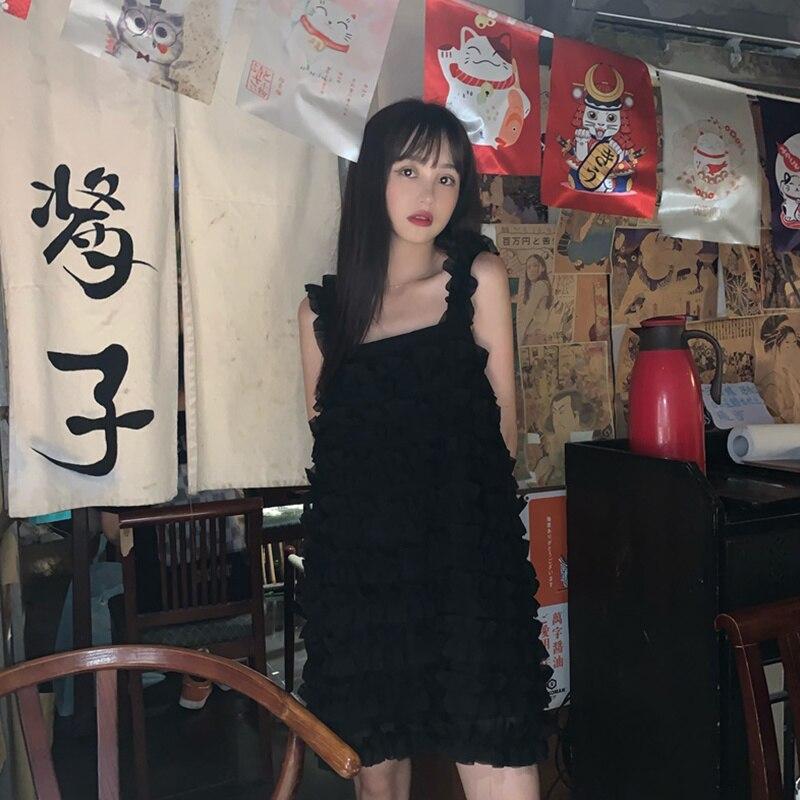 FIFICHUYI Summer New Sweet Wooden Ear Chiffon Dungaree Sweet Lolita Women Dress Slim Midi Vest Dresses Woman Party Night|Dresses| - AliExpress