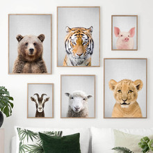 Bear Tiger Pig Goat Lion Sheep Nordic Posters And Prints Wall Art Canvas Painting Animals Pictures For Baby Kids Room Decor