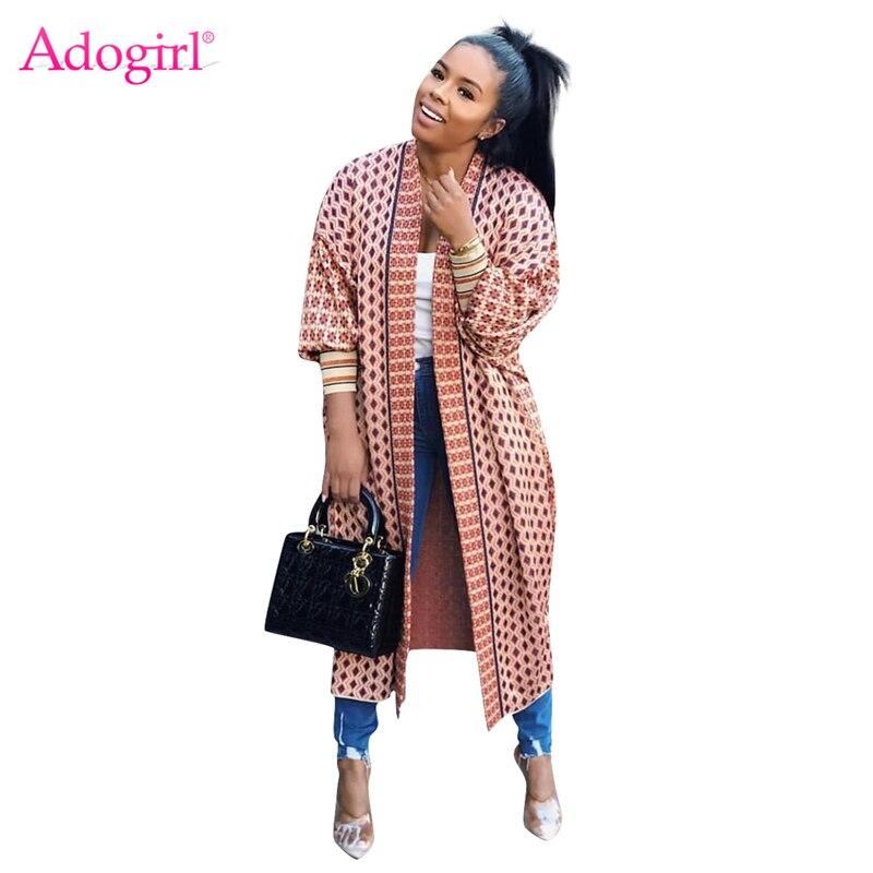 Adogirl Fashion Print Threaded Sleeve Long Cardigan 2019 Autumn Winter Full Sleeve Open Stitch Coat Female Casual Outerwear