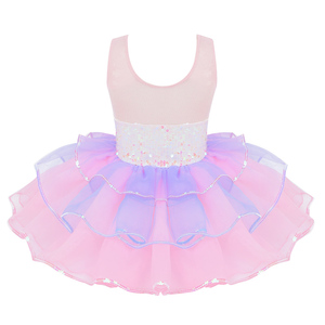 Image 2 - Tutu Ballet Jurk Voor Meisjes Ballerina Tule Kostuum Glanzende Pailletten Mesh Splice Strik Op Taille Ballerina Jurk Kinderen Dancewear