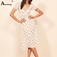 Aimsnug Vintage Short Sleeve Summer Boho Floral Dress 2019 Fit and Flare Dress Women Elegant V neck Mid Beach Dresses Vestidos цена 2017