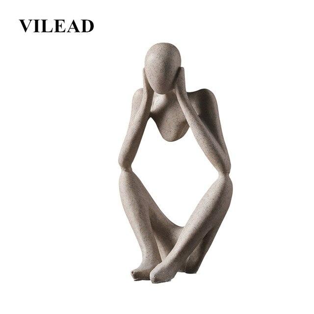 VILEAD Nordic Abasract Thinker Statue Resin Figurine Office Home  Decoration Desktop Decor Handmade Crafts Sculpture Modern Art 1