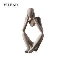 VILEAD Nordic Abasract Thinker Statue Resin Figurine Office Home  Decoration Desktop Decor Handmade Crafts Sculpture Modern Art