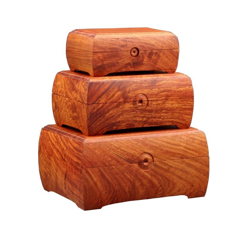 Palissandre fait main boîte de rangement organisateur bijoux bois cosmétique maquillage boîte de rangement qualité supérieure organisateur classique trois pièces