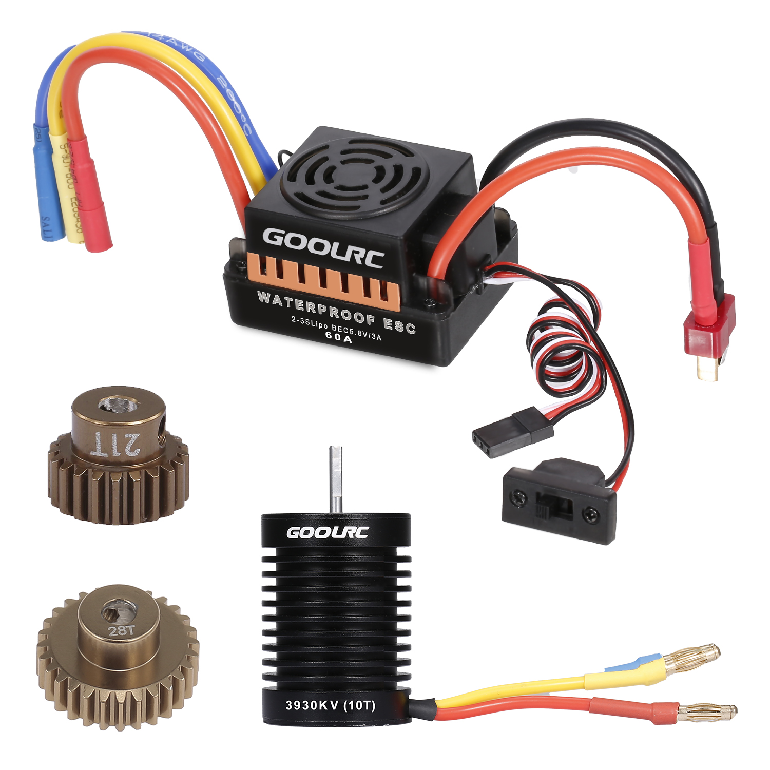 <font><b>GoolRC</b></font> 10T Motor <font><b>3650</b></font> 3930KV Brushless Motor 60A ESC Electronic Speed Controller 5.8V/3A 21T 28T Gear for 1/10 RC Car Boat image