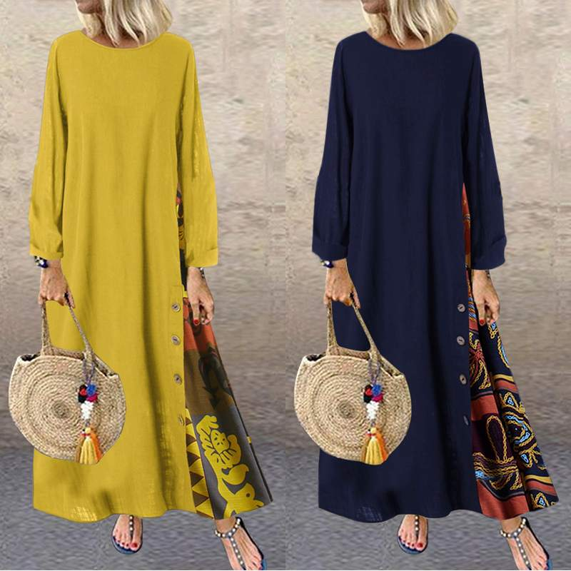 Women's Long Maxi Dress Ladies Long Sleeve Patchwork Printed Vestidos 2019 ZANZEA Ladies Party Beach Dresses Female Kaftan Robe