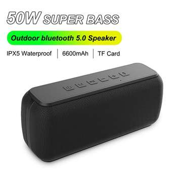 Portable bluetooth Speaker Column Soundbar 50W bluetooth 5.0 TWS Design IPX5 Waterproof Hands-free Call Heavy Bass Loundspeaker