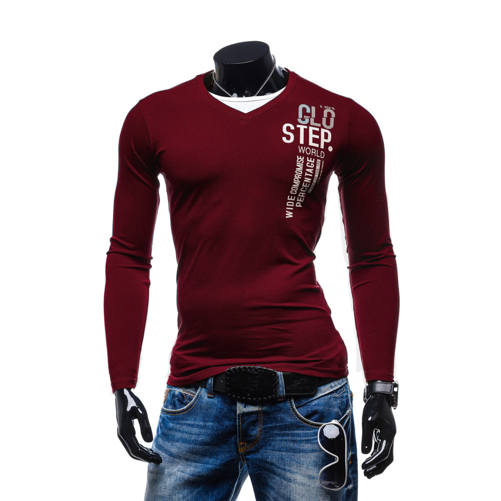 High Quality Elastic Fabric Men T Shirt For Male Big Size Lycra And Cotton Business Tees Mens T-Shirt V-Neck Long Sleeve Full
