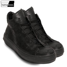 Brand New Men High Top Dancing Sneakers Cow Real Leather Ank