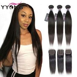 Yyong Peruaanse Steil Haar 3 Bundels Remy Human Hair Extensions Met 4*4 Vetersluiting Dubbele Inslag Weave Bundels met Sluiting