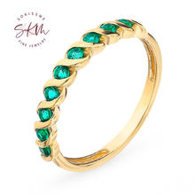 Skm 14k 18k желтое золото кольца для женщин Изумрудное кольцо
