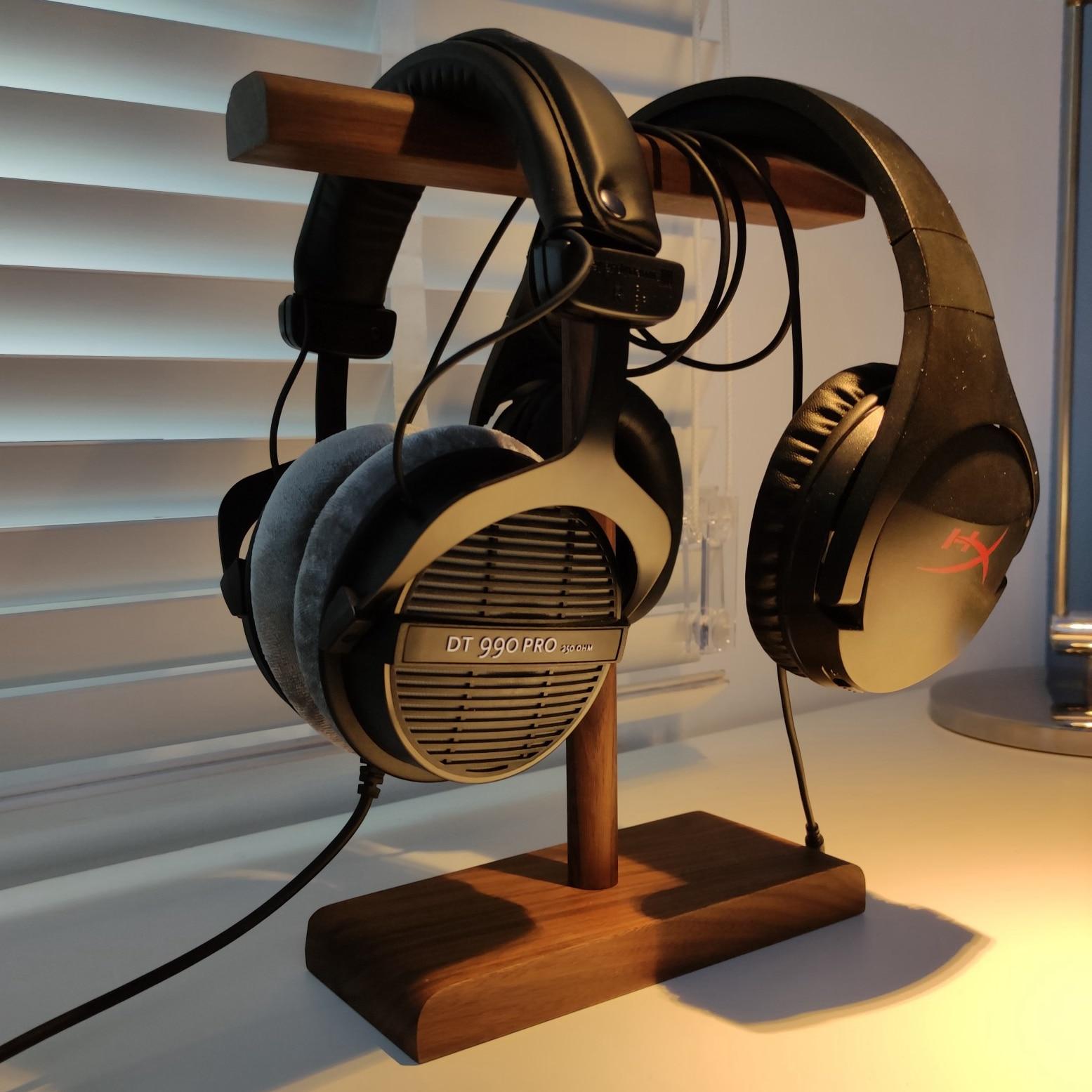 T forma de madeira suporte para fone de ouvido prateleira cabide de mesa suporte fones suportes armazenamento em casa organizador